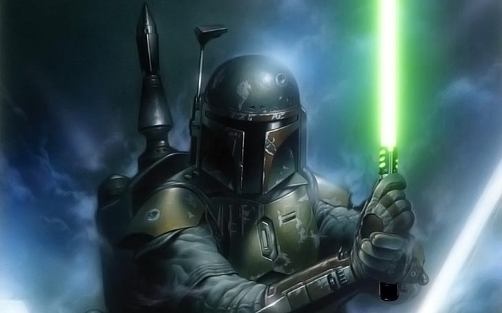 star wars boba fett lightsaber wallpaper preview