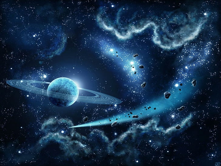 stars colorful galaxy space planet universe saturn planet display wallpaper preview
