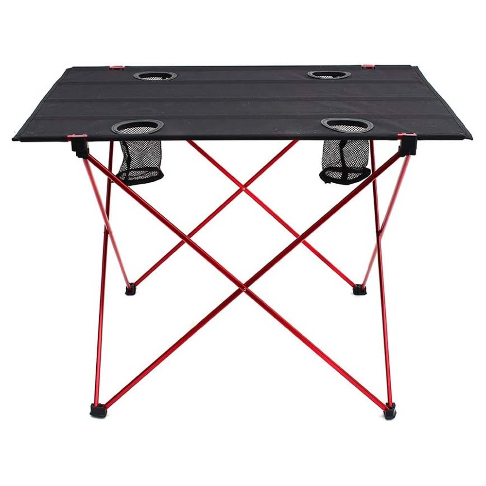 OUTRY Lightweight Folding Table with Cup Holders