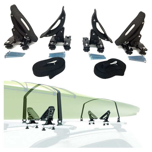 Universal Saddles Canoe Roof Top Mounted on Car/SUV Crossbar by Car Rack & Carriers