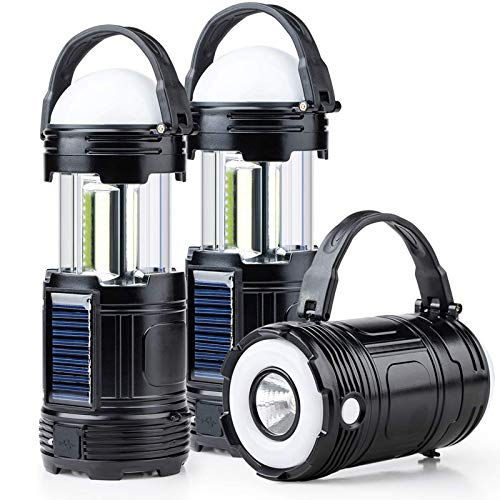 2 Pack Black 5 in 1 Solar USB Rechargeable 3 AAA Power Brightest COB LED Camping Lantern