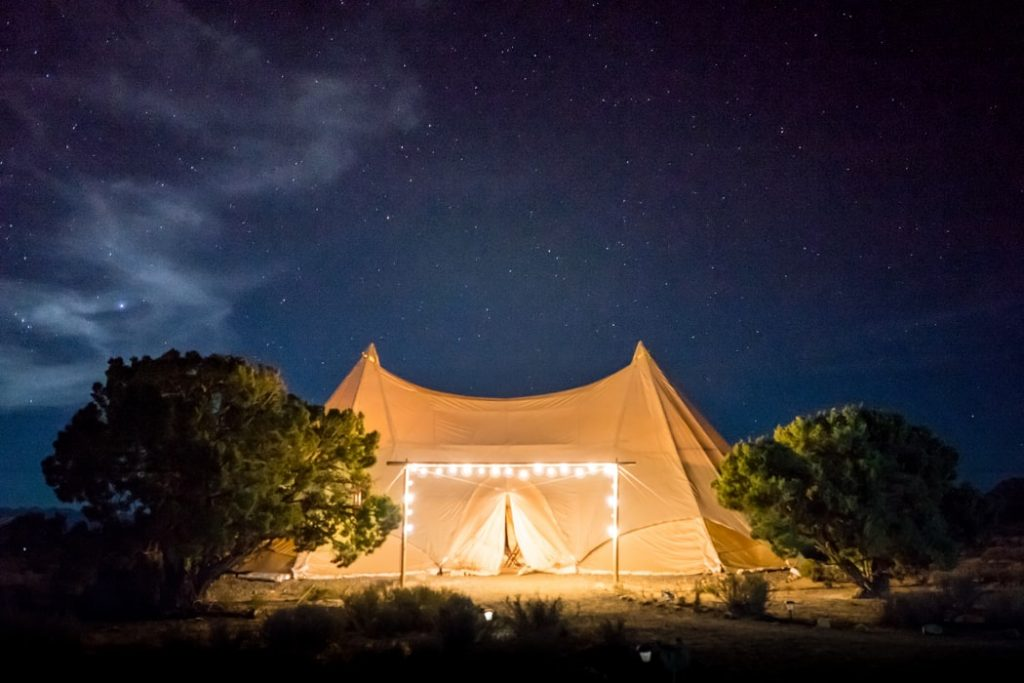 String Lights On Camping Tent For Decoration