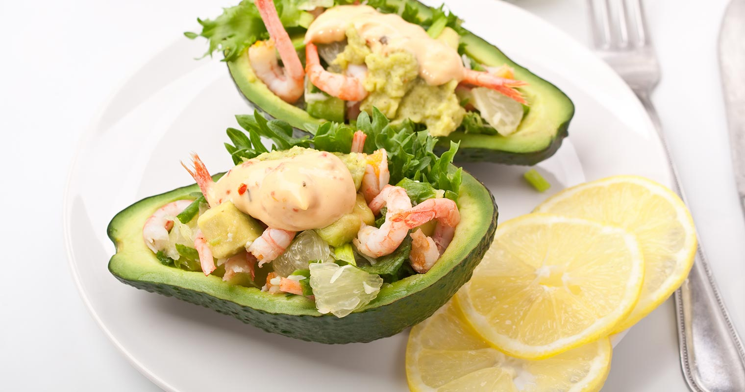 avocados and shrimps are good sources of dietary vitamin E for antioxidant effect and smoother skin