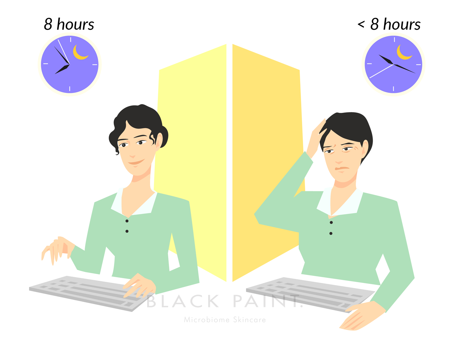 illustration of person feeling tired because of unsufficient sleep