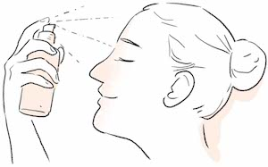 illustraion of using water spray to moisturize skin in air con working environment