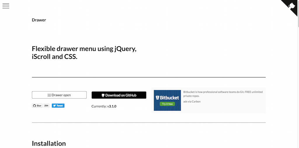 Drawer Flexible drawer menu using jQuery iScroll and CSS.