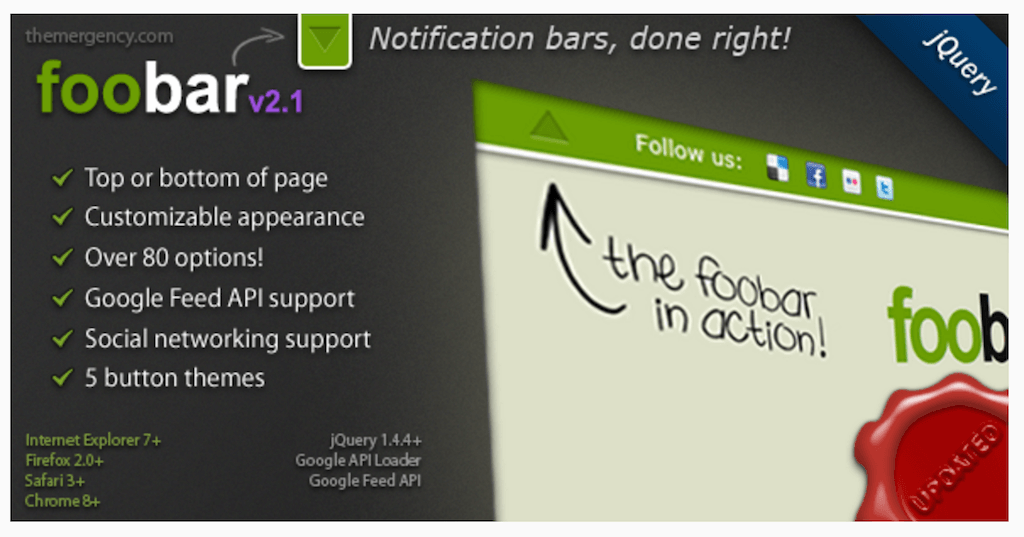 FooBar A jQuery Notification Bar JavaScript CodeCanyon