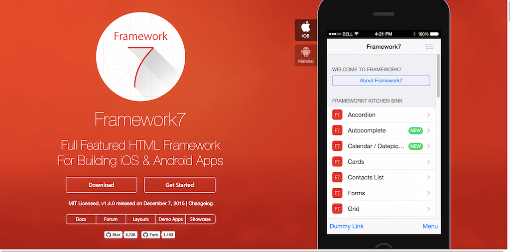 Framework7 Full Featured Mobile HTML Framework For Building iOS Android Apps