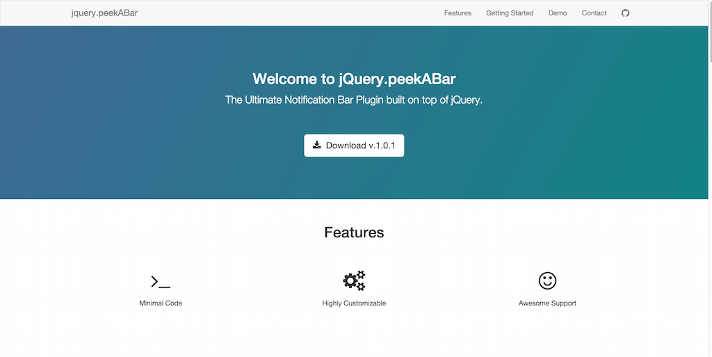 jquery.peekABar A jQuery Notification Bar plugin