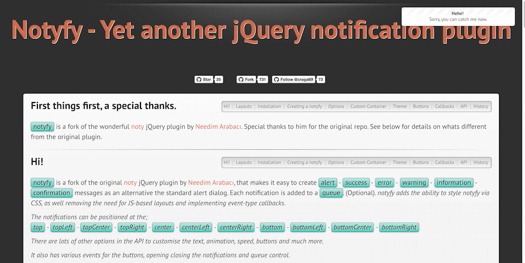notyfy Yet another jQuery notification plugin