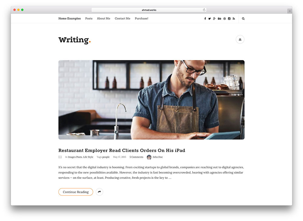 writing simple blog theme