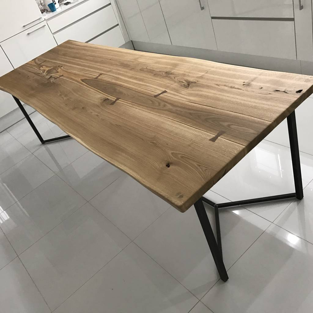 London Solid Live Edge Oak Industrial Dining Table By Cosywood
