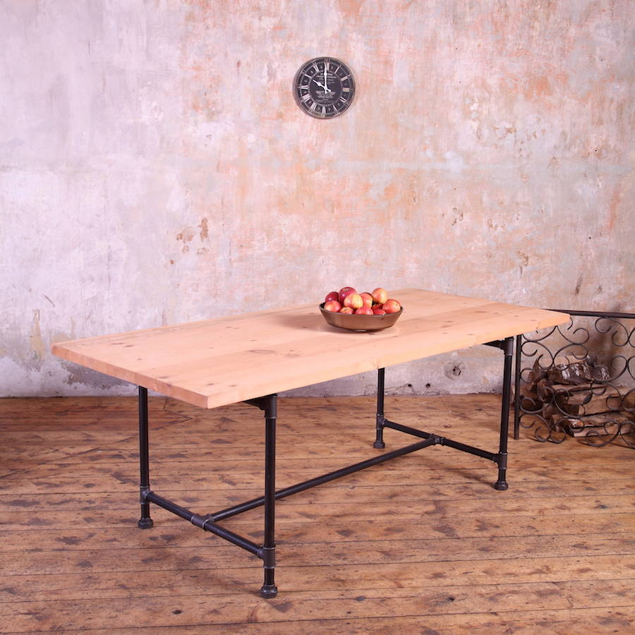 Severn Metal Pipe Legs Industrial Style Dining Table By Cosywood