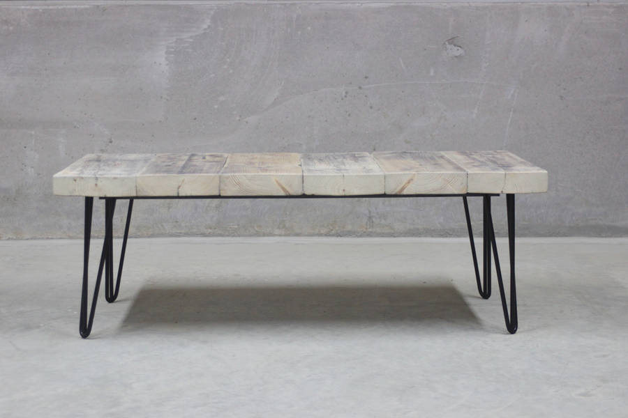 East West Reclaimed Coffee Table With Hairpin Legs By Rust
