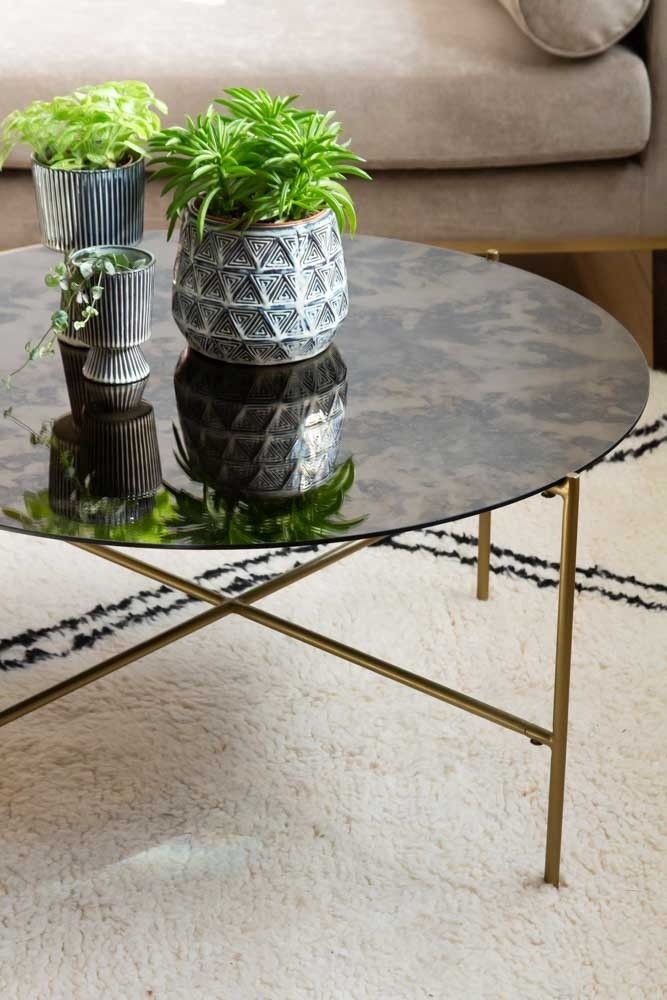 Round Coffee Table With Bronze Oxidised Mirrored Top Rockett St