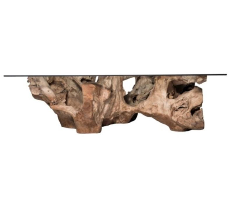 Jakarta Natural Large Wood Glass Cocktail Table Sanctuary Home