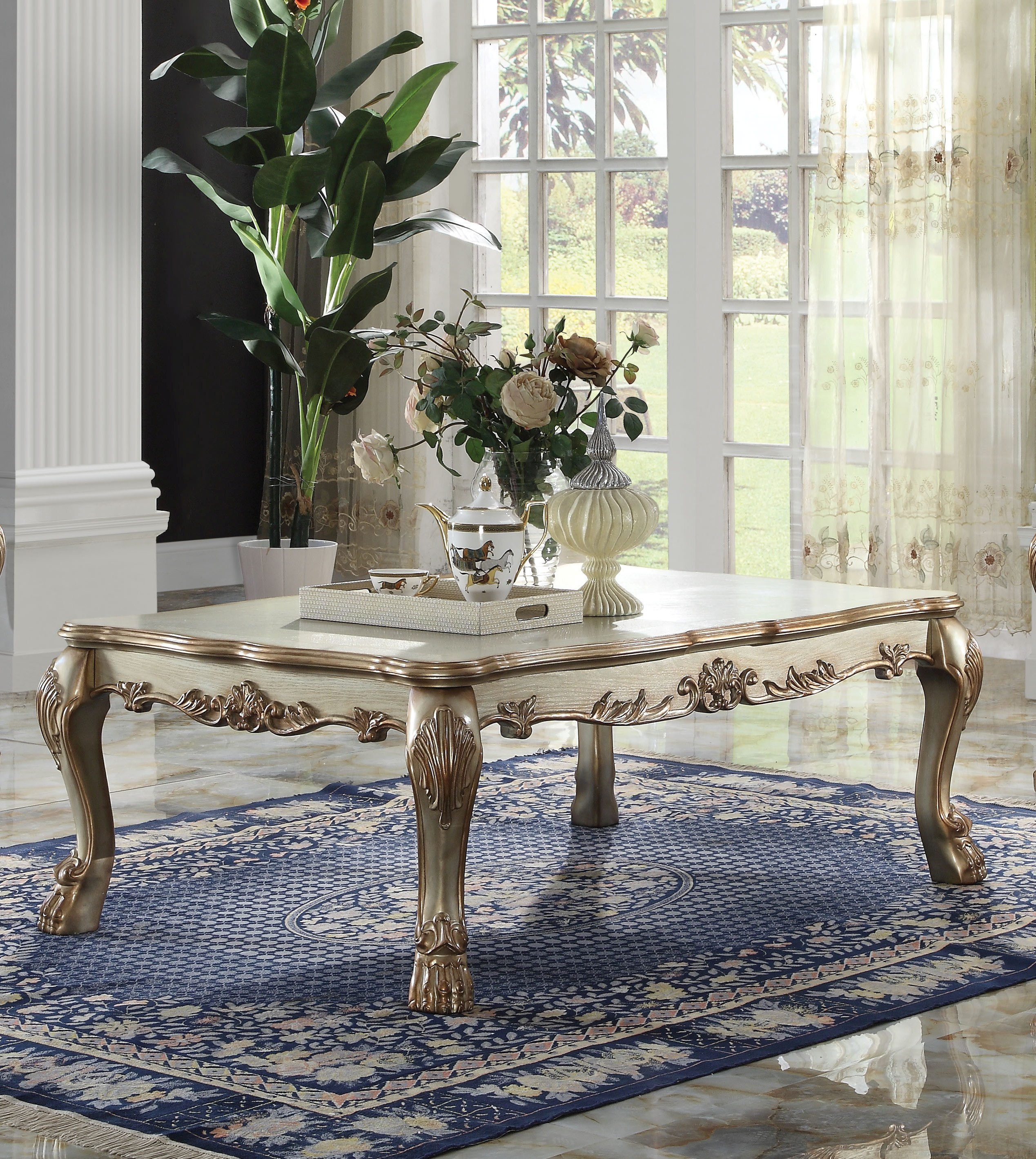 Acme Furniture Dresden Gold Patina Coffee Table The Classy Home