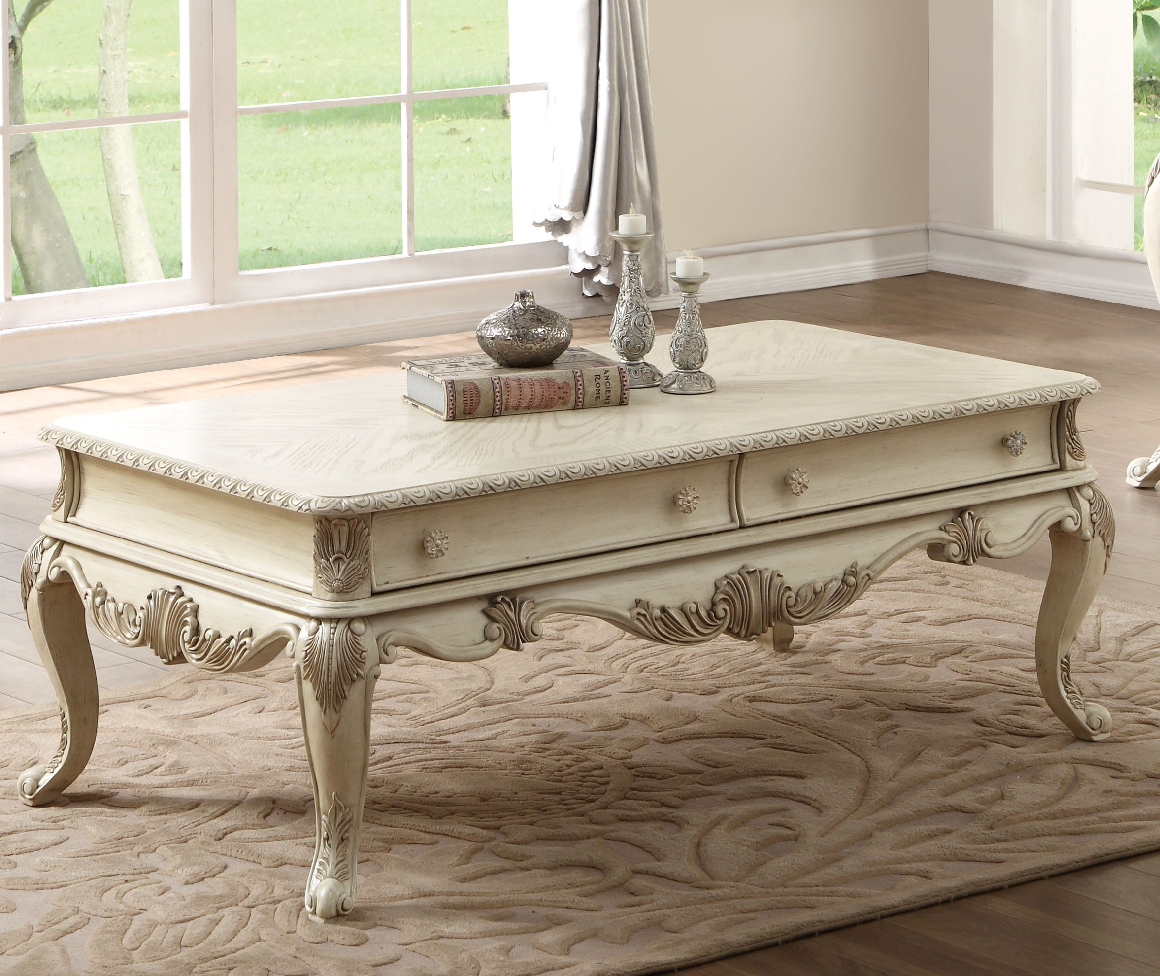 Acme Furniture Ragenardus Antique White Coffee Table The Classy Home