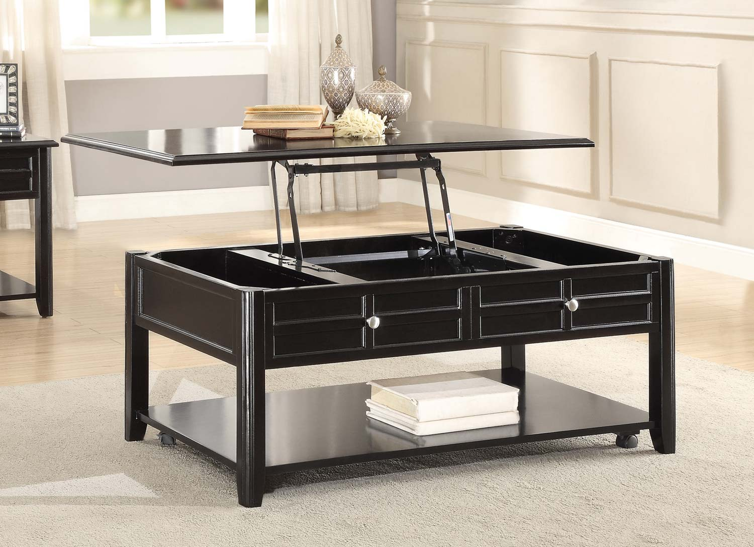 Home Elegance Carrier Cocktail Table With Lift Top On Casters