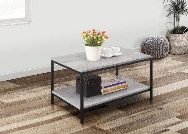 Townville Concrete Effect Coffee Table In Grey Zurleys