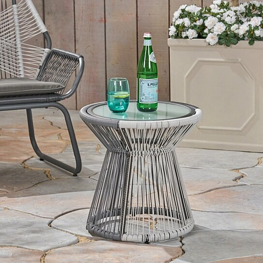 Buy Aiden Outdoor Faux Rattan Side Table With Glass Top By