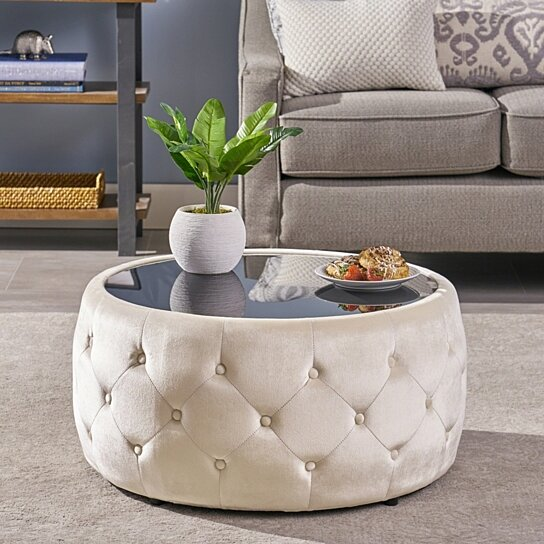 Buy Ivy Glam Velvet And Tempered Glass Coffee Table Ottoman By