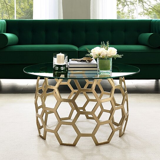 Buy Minae Round Geometric Coffee Table Durable Clear Glass Top