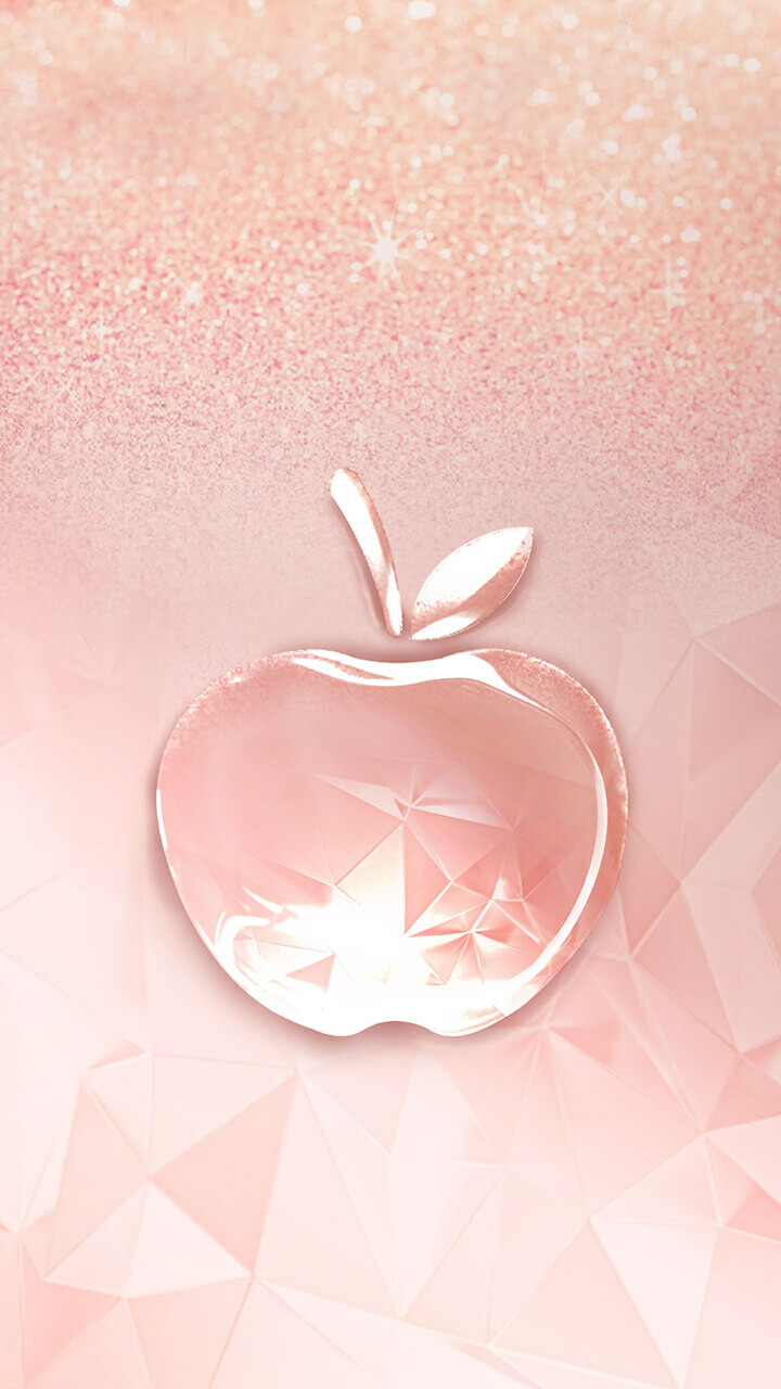 Wallpaper Rose Gold Glitter Apple Sign
