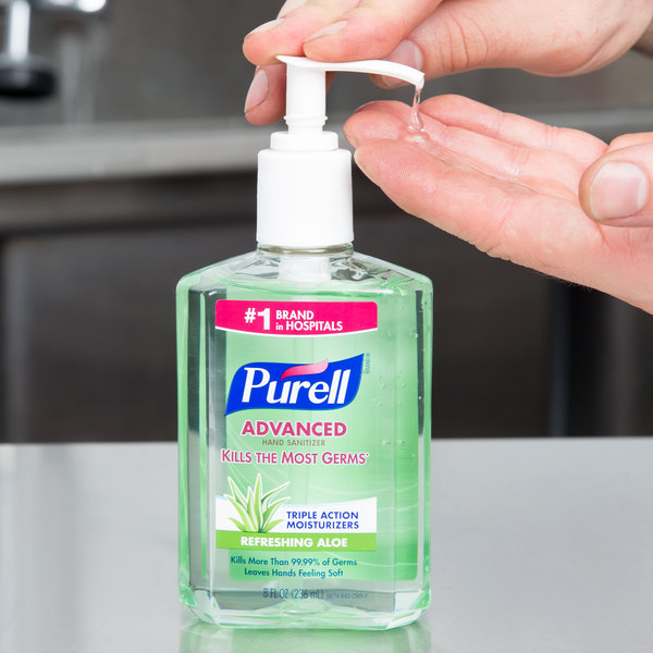 Purell 9674 12 Advanced With Aloe 8 Oz Gel Instant Hand Sanitizer