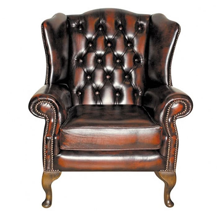 balmoral leather chesterfield wing chair