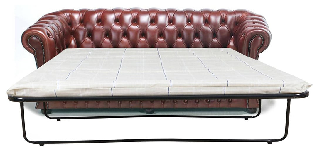 gladstone brown leather chesterfield sofa bed