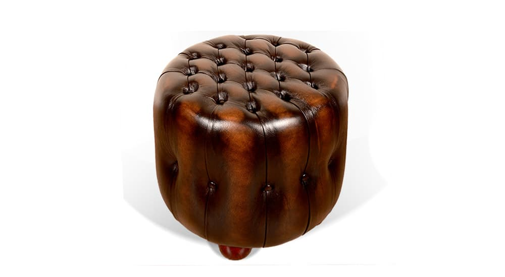 leather chesterfield barrel footstool