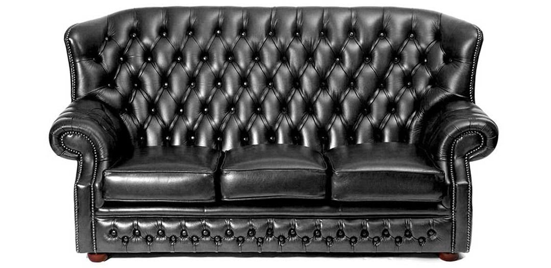 monks black leather chesterfield sofa bed