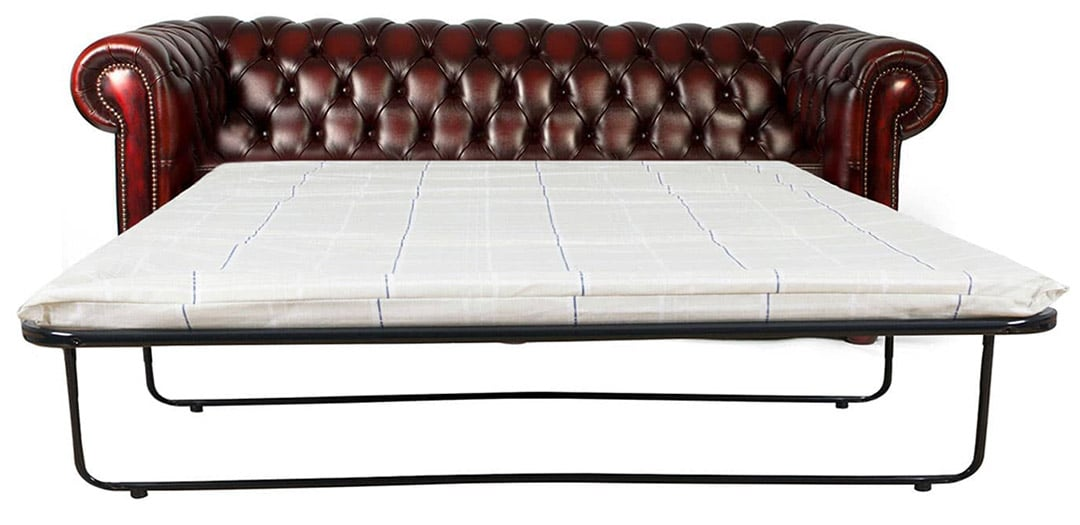 oxford red leather chesterfield sofa bed