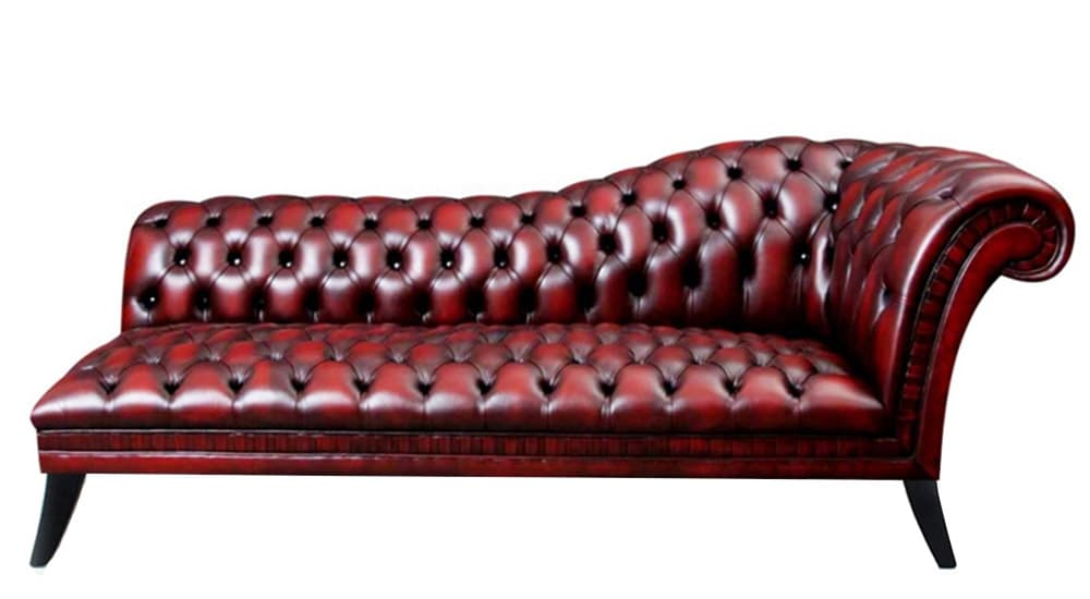 traditional leather chesterfield chaise longue