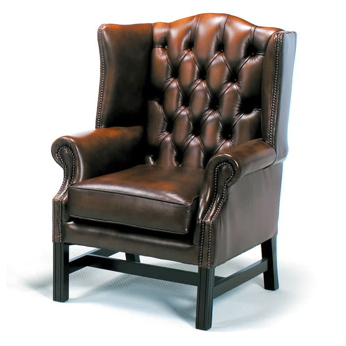 windsor leather chesterfield wing chair