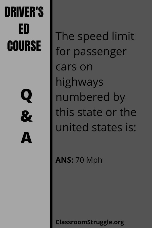 The speed limit for passenger cars on highways numbered by this state or the united states is: