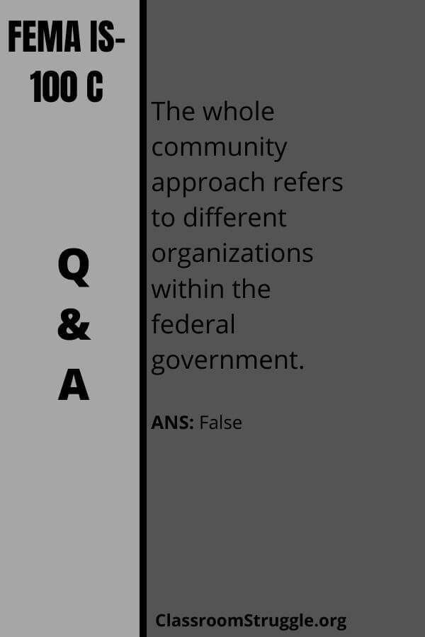 The whole community approach refers to different organizations within the federal government.