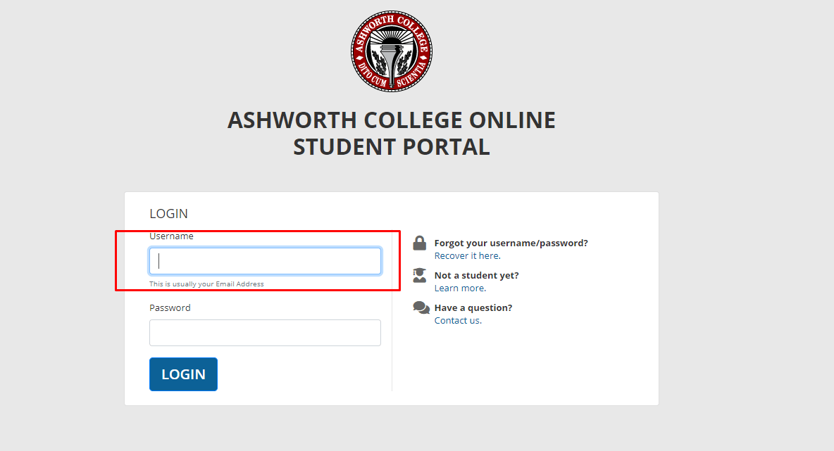 ashworth college student portal login page for existing students