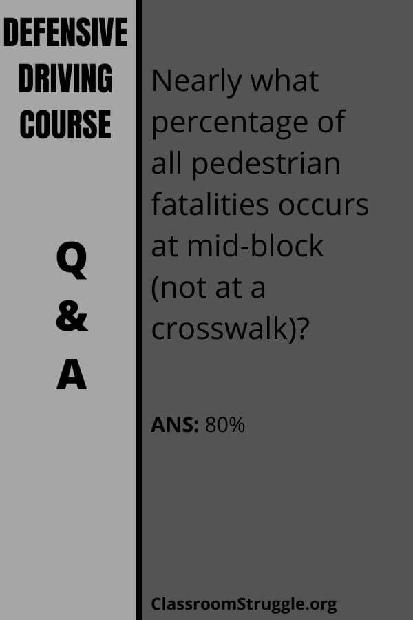 Nearly what percentage of all pedestrian fatalities occurs at mid-block (not at a crosswalk)?