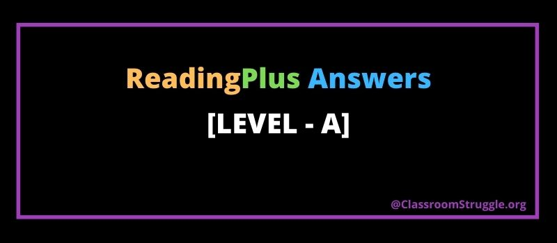 Reading plus answers level A