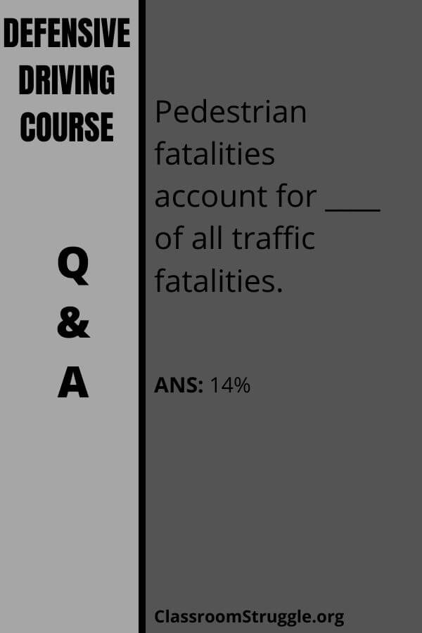 Pedestrian fatalities account for approximately ____ of all traffic fatalities.