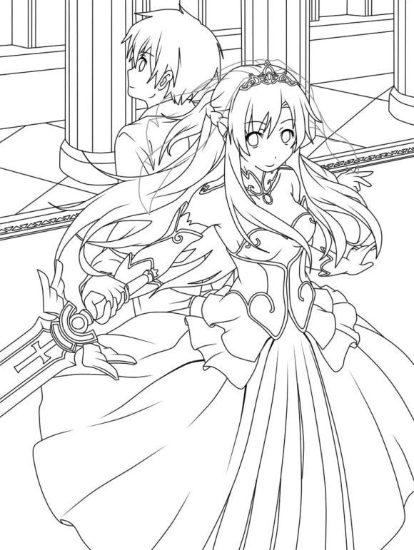 awesome asuna sword art online coloring pages 1
