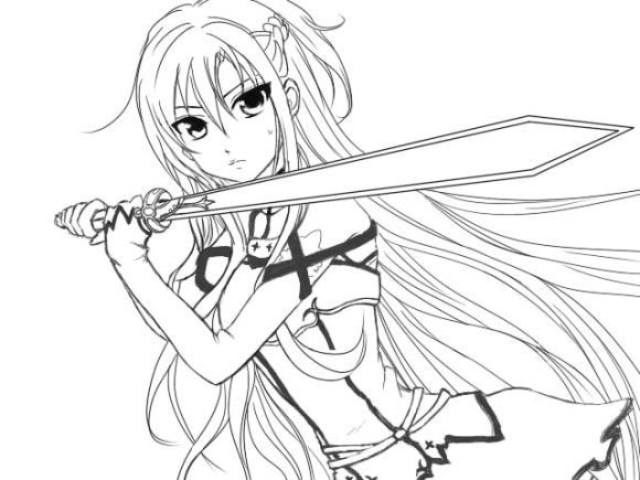awesome asuna sword art online coloring pages