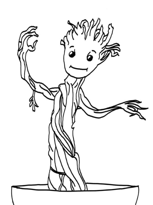 awesome baby groot coloring page free