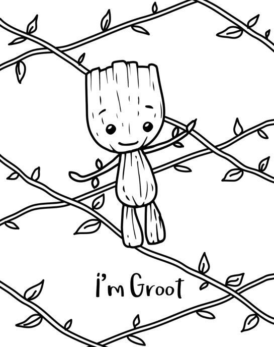 beautiful baby groot coloring page free