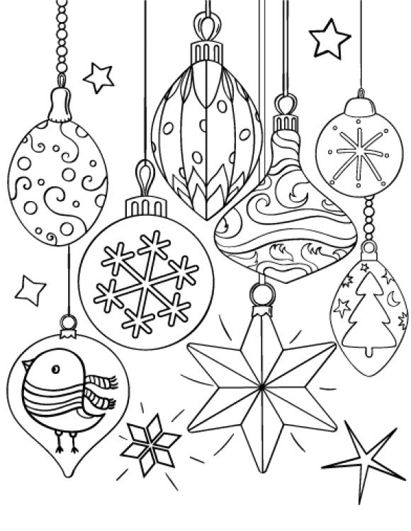 beautiful coloring page christmas ornament hd