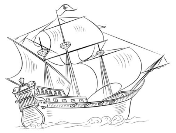 Pirate Ship Coloring Page Free