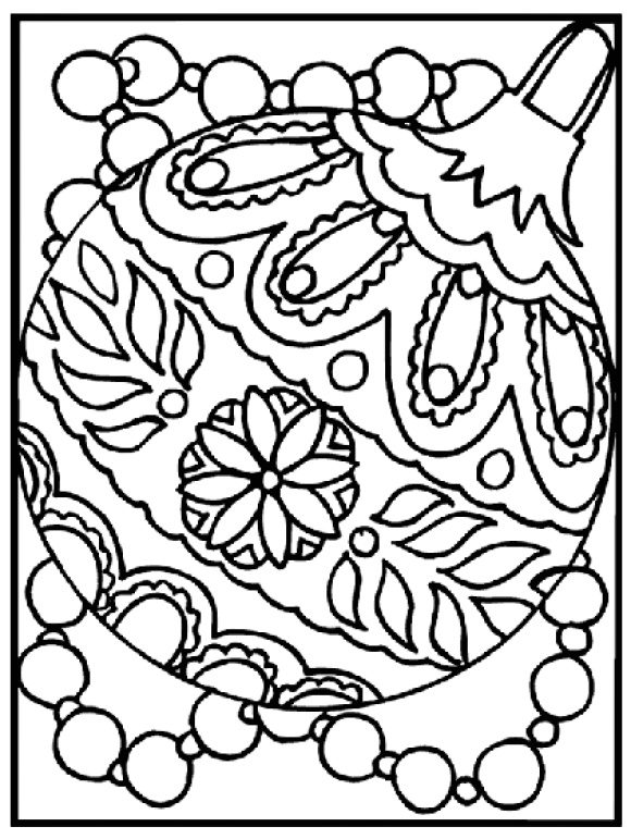 cool coloring page christmas ornament hd