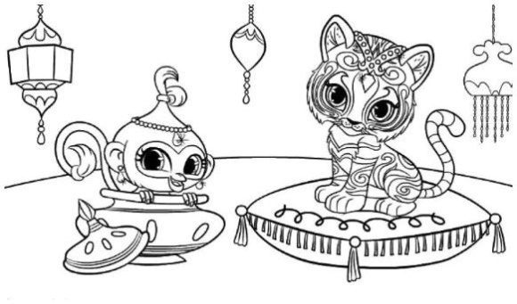 cool shimmer and shine coloring pages tiger and monk
